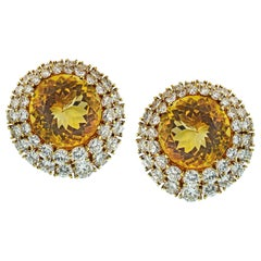 Tiffany & Co. Yellow Gold Citrine and 12 Carat Round Diamond Clip-On Earrings