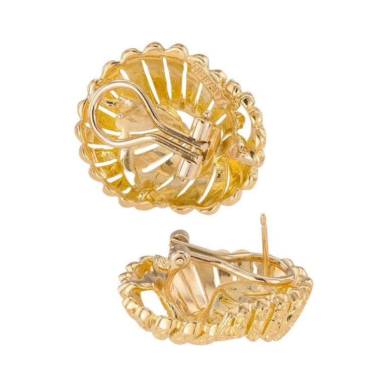 Women's Tiffany & Co. Yellow Gold Clip Post Back Earrings For Sale