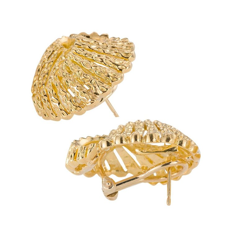 Tiffany & Co. Yellow Gold Clip Post Back Earrings For Sale 1