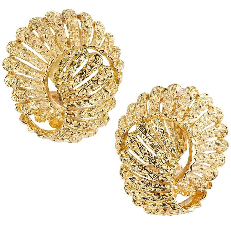 Tiffany & Co. Yellow Gold Clip Post Back Earrings For Sale