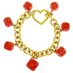 Tiffany & Co. Yellow Gold Coral Dice Charm Bracelet
