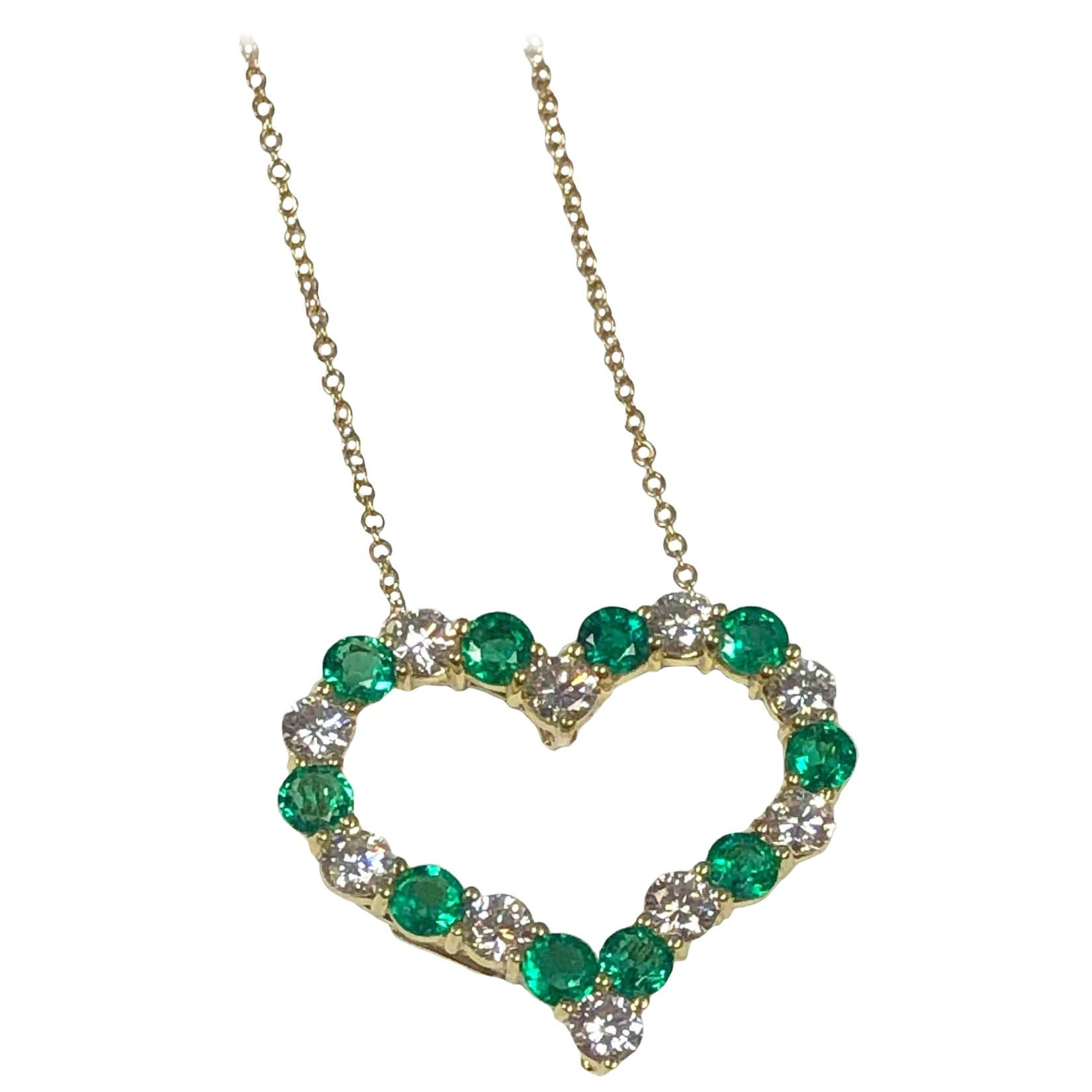 Tiffany & Co Yellow Gold Diamond and Emerald Heart Pendant Necklace