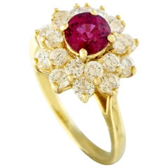 Tiffany & Co. Yellow Gold Diamond and Ruby Flower Ring