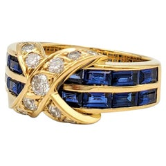 Tiffany & Co. Yellow Gold Diamond and Sapphire 'X' Ring