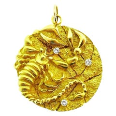 Tiffany & Co. Yellow Gold Diamond Astrological Zodiac Cancer Pendant