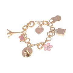 Tiffany & Co. Yellow Gold Diamond Enamel Charm Bracelet
