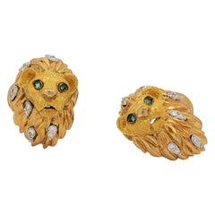 Tiffany & Co. Yellow Gold Diamond Enamel Green Stone Cufflinks