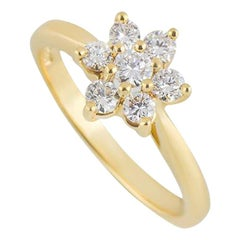 Tiffany & Co. Yellow Gold Diamond Flower Ring 0.47 Carat