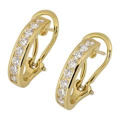 Tiffany & Co. Yellow Gold Diamond Set Hoop Earrings