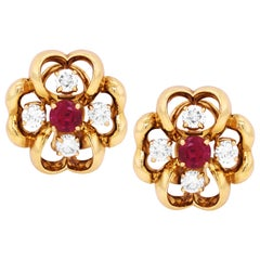 Tiffany & Co. Yellow Gold Earrings with Diamonds and Ruby Centers