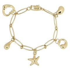 Tiffany & Co. Yellow Gold Elsa Peretti Charm Bracelet