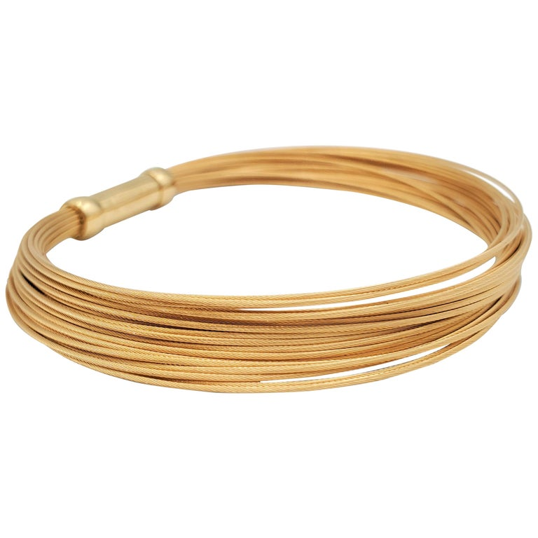 Tiffany & Co. Yellow Gold Flexible Multi-Strand Wire Bracelet For Sale