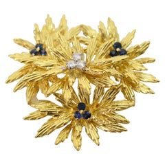 Tiffany & Co. Gold Blue Sapphire Floral Cluster Brooch Pin