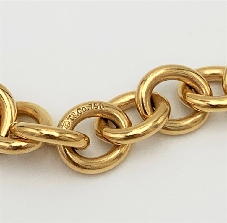 Women's Tiffany & Co. Yellow Gold Heart Pendant Curb Link Chain Necklace For Sale
