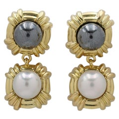 Tiffany & Co. Yellow Gold Hematite and Pearl Dangle Earrings