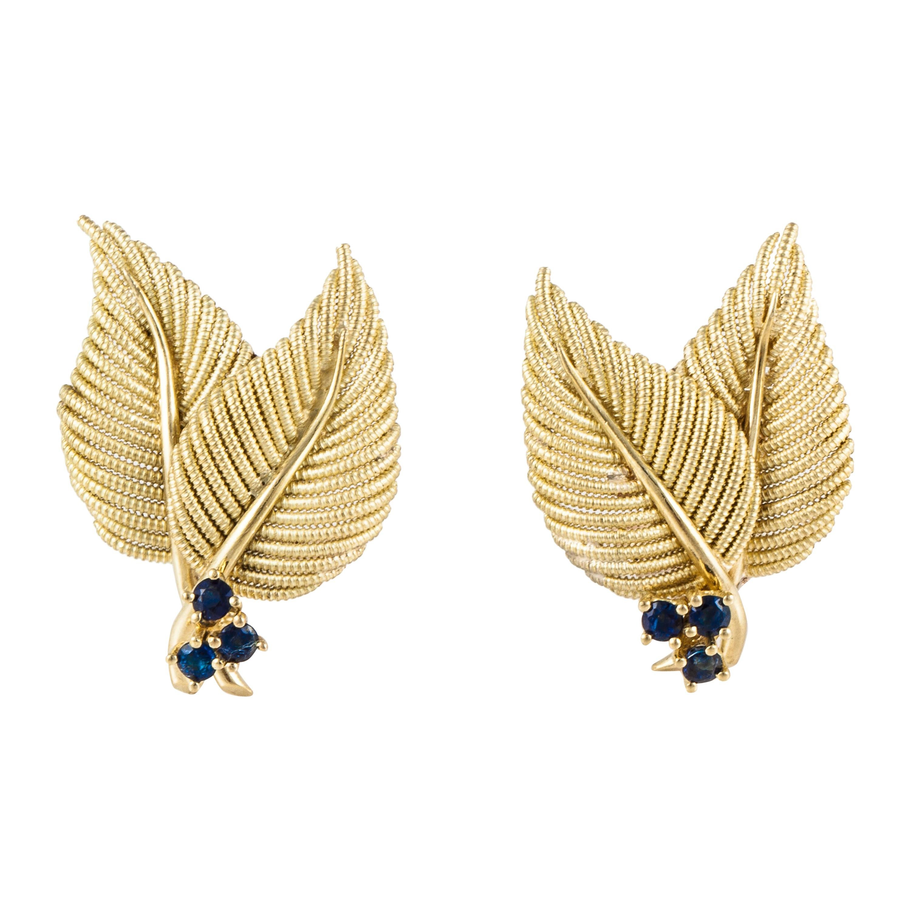 Tiffany & Co. 18K Gold Leaf Earrings with Sapphires