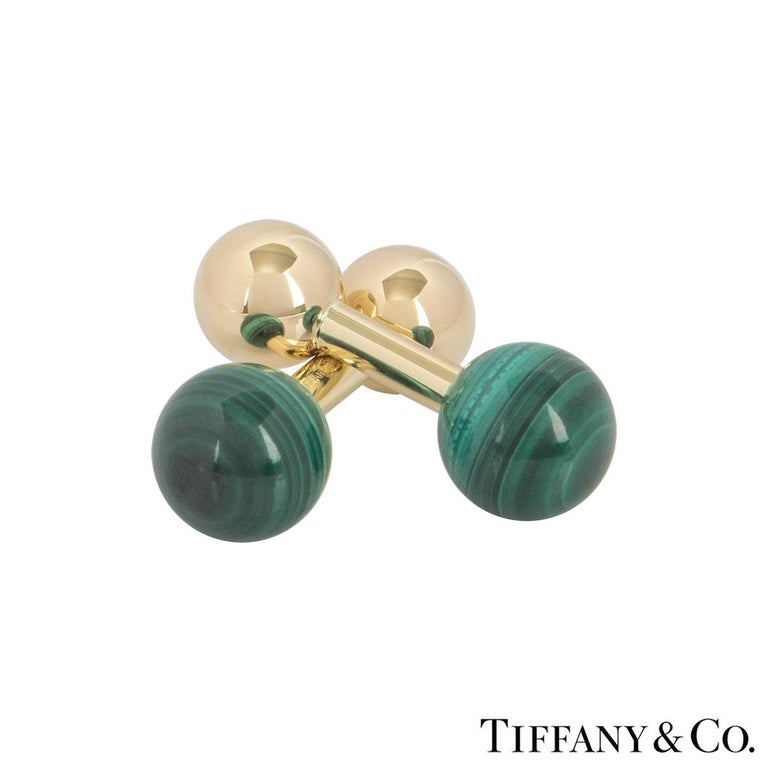 Tiffany & Co. Yellow Gold Malachite Ball Cufflinks In Excellent Condition For Sale In London, GB