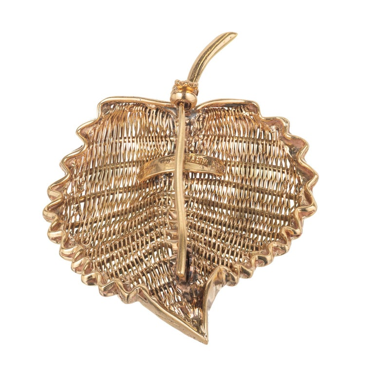 Tiffany & Co. Yellow Gold Midcentury Wire Leaf Brooch For Sale 1