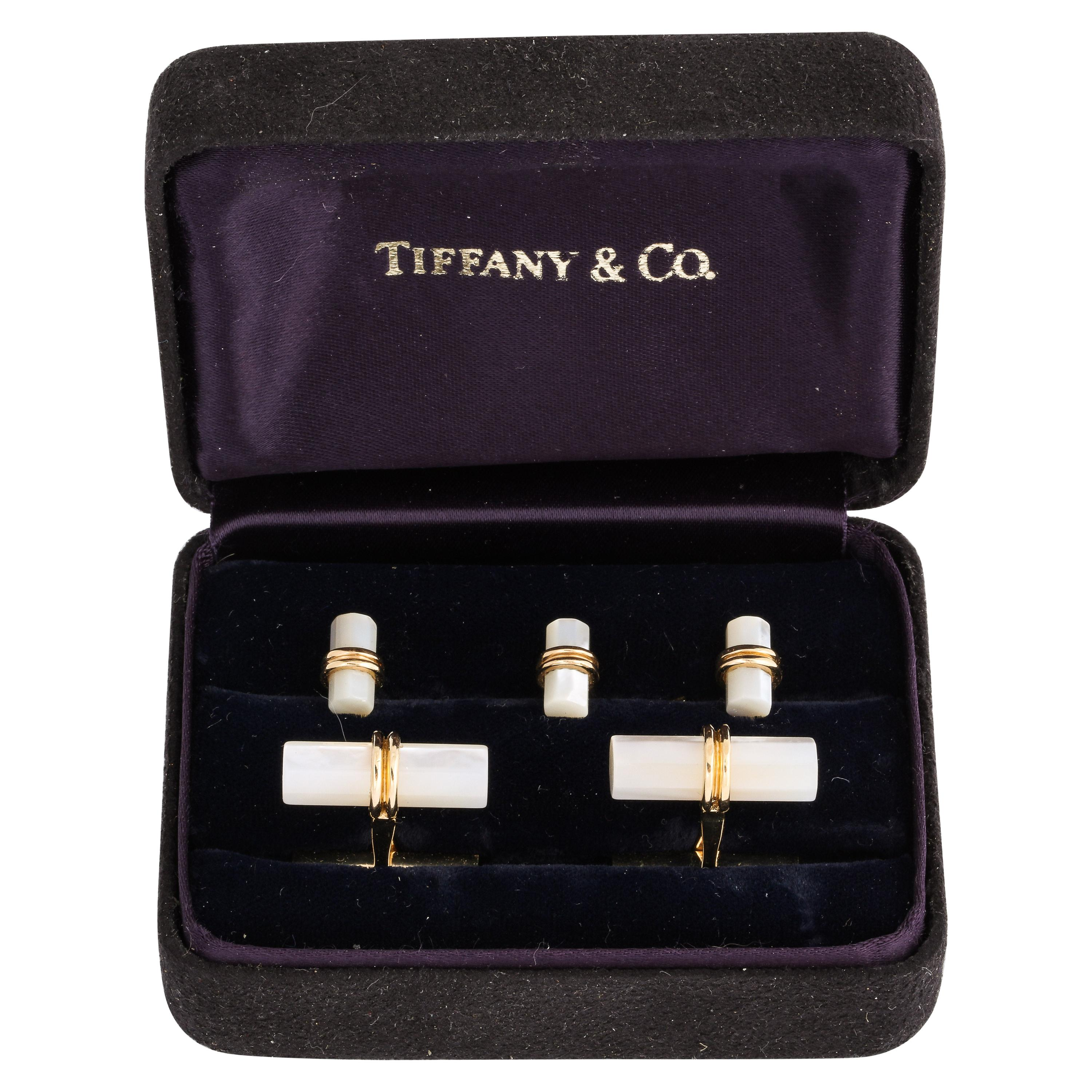 Tiffany & Co. Yellow Gold Mother of Pearl Men's Cufflinks and Dress Studs Set