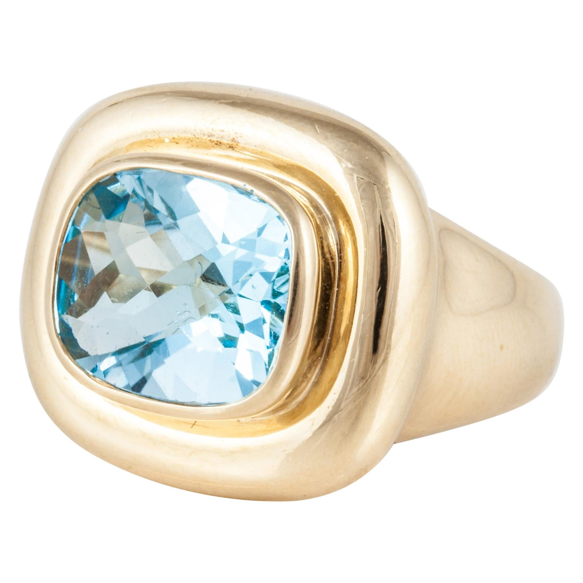Tiffany & Co. by Paloma Picasso 18K Yellow Gold Blue Topaz Ring