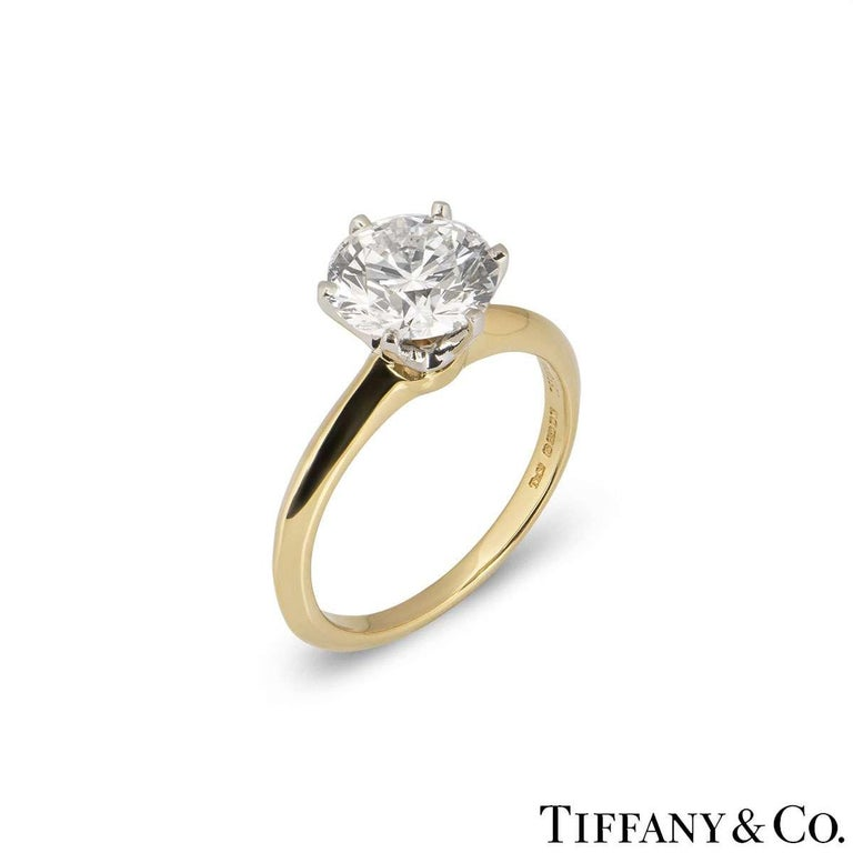 Women's Tiffany & Co. Yellow Gold Round Diamond Engagement Ring 2.05 Carat D/VVS2 For Sale