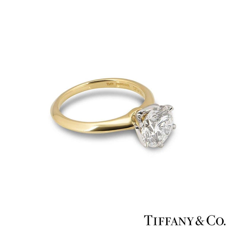 Tiffany & Co. Yellow Gold Round Diamond Engagement Ring 2.05 Carat D/VVS2 For Sale 1