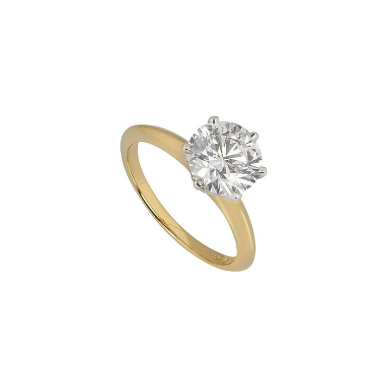 Tiffany & Co. Yellow Gold Round Diamond Engagement Ring 2.05 Carat D/VVS2 For Sale