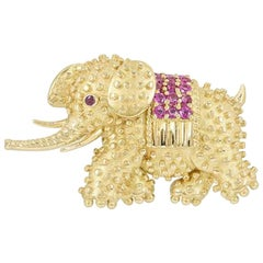 Tiffany & Co. Yellow Gold Ruby Elephant Brooch