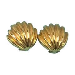 Tiffany & Co. Yellow Gold Shell Form Earrings