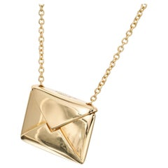 Tiffany & Co. Yellow Gold Sweet Nothing Envelope Pendant Necklace