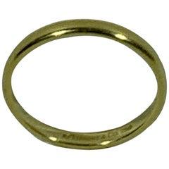 Tiffany & Co. Yellow Gold Thin Plain Wedding Band Ring, Estate