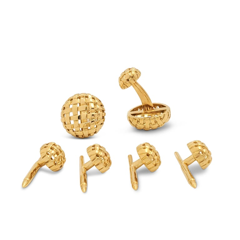 Tiffany & Co. Yellow Gold Vannerie Cufflinks and Studs Dress Set In Excellent Condition For Sale In New York, NY