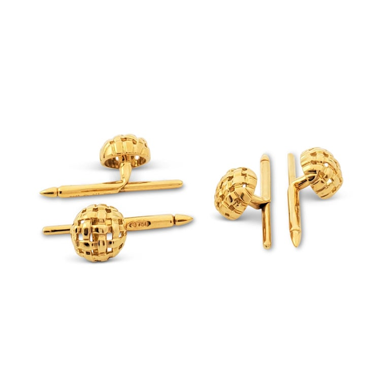Tiffany & Co. Yellow Gold Vannerie Cufflinks and Studs Dress Set For Sale 1