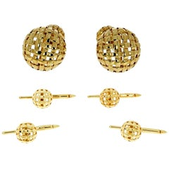 Tiffany & Co. Yellow Gold Vannerie Cufflinks and Studs Dress Set