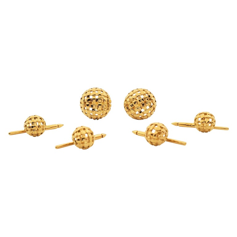 Tiffany & Co. Yellow Gold Vannerie Cufflinks and Studs Dress Set For Sale