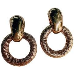 Tiffany & Co. Yellow Gold Vintage Door Knockers Circle Pierced Earrings