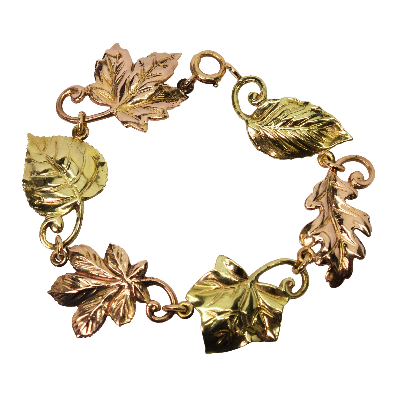 Tiffany & Co. Yellow Rose 14 Karat Gold Leaf Link Bracelet