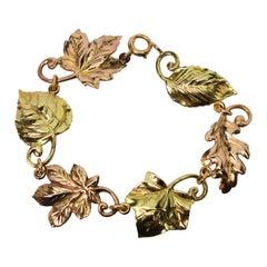 Tiffany & Co. Yellow Rose Gold Leaf Link Bracelet