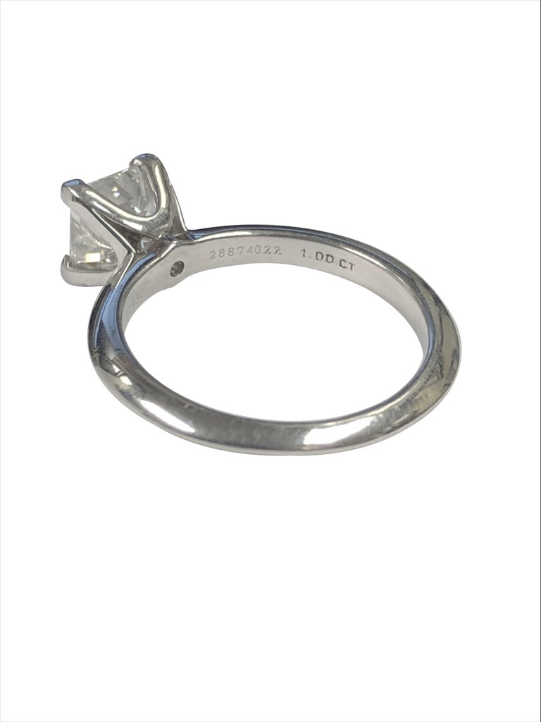 Tiffany & Co 1 Carat Square Step Cut Diamond and Platinum Engagement Ring In New Condition For Sale In Chicago, IL