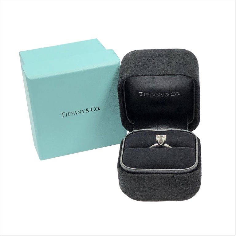 Women's Tiffany & Co 1 Carat Square Step Cut Diamond and Platinum Engagement Ring For Sale