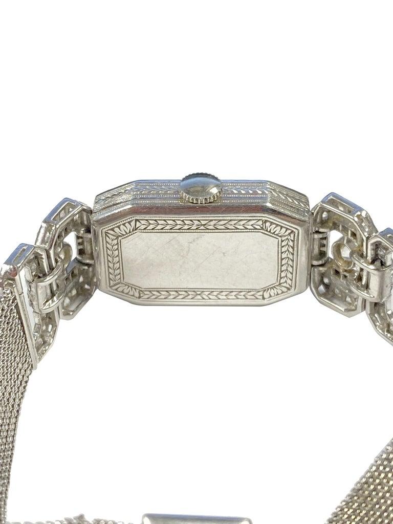 Art Deco Tiffany & Company 1920s Platinum Diamond and Onyx Ladies Bracelet Watch For Sale