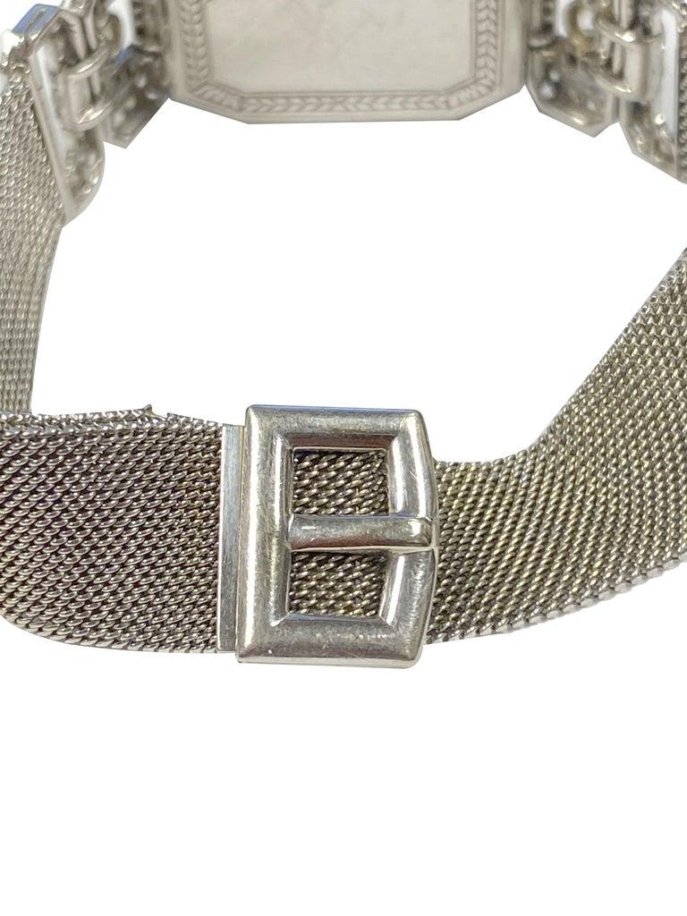 Old European Cut Tiffany & Company 1920s Platinum Diamond and Onyx Ladies Bracelet Watch For Sale