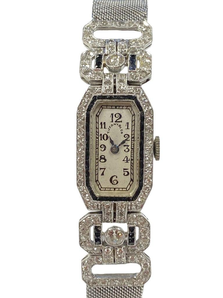 Women's Tiffany & Company 1920s Platinum Diamond and Onyx Ladies Bracelet Watch For Sale