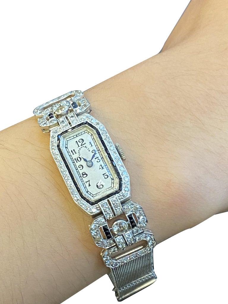 Tiffany & Company 1920s Platinum Diamond and Onyx Ladies Bracelet Watch For Sale 1