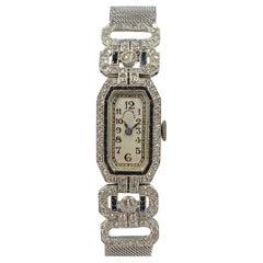 Tiffany & Company 1920s Platinum Diamond and Onyx Ladies Bracelet Watch