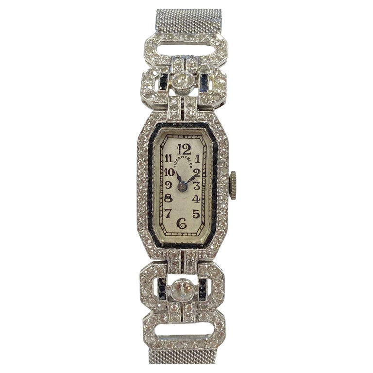 Tiffany & Company 1920s Platinum Diamond and Onyx Ladies Bracelet Watch For Sale