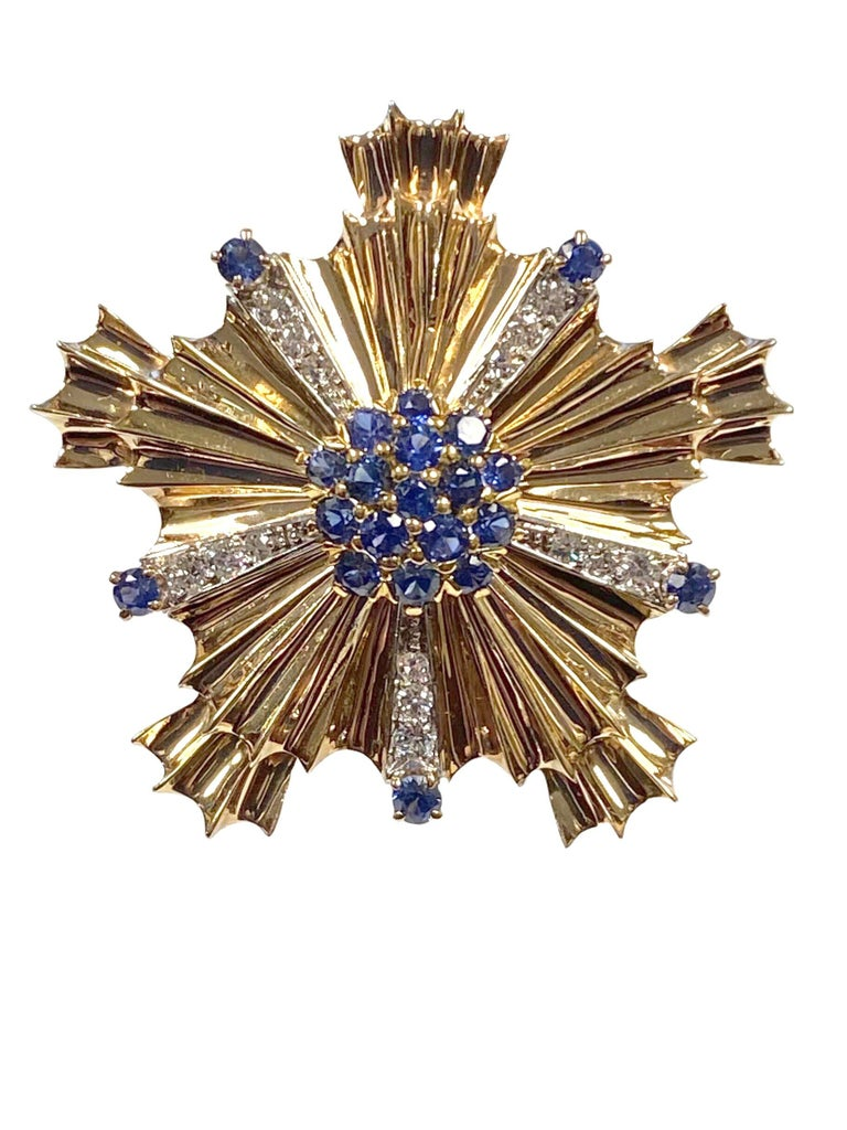 Round Cut Tiffany & Co. 1940s Retro Patriotic Gold and Gem Stone Clip Brooches For Sale