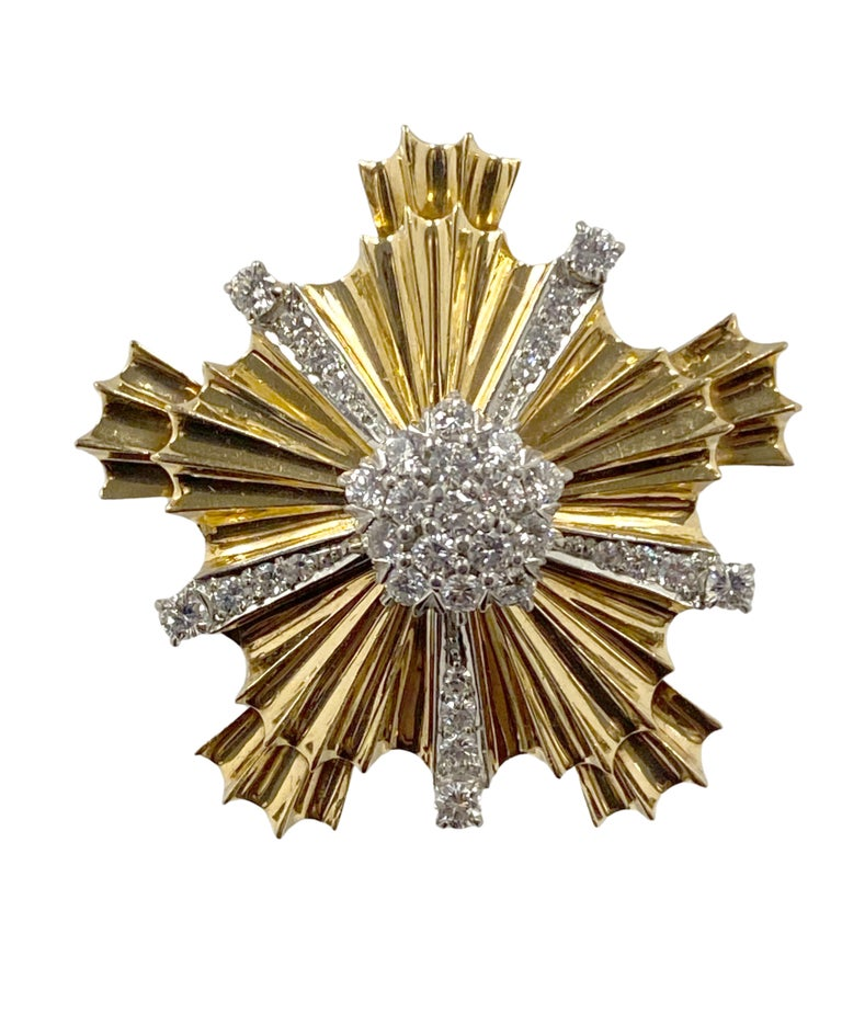 Tiffany & Co. 1940s Retro Patriotic Gold and Gem Stone Clip Brooches In Excellent Condition For Sale In Chicago, IL