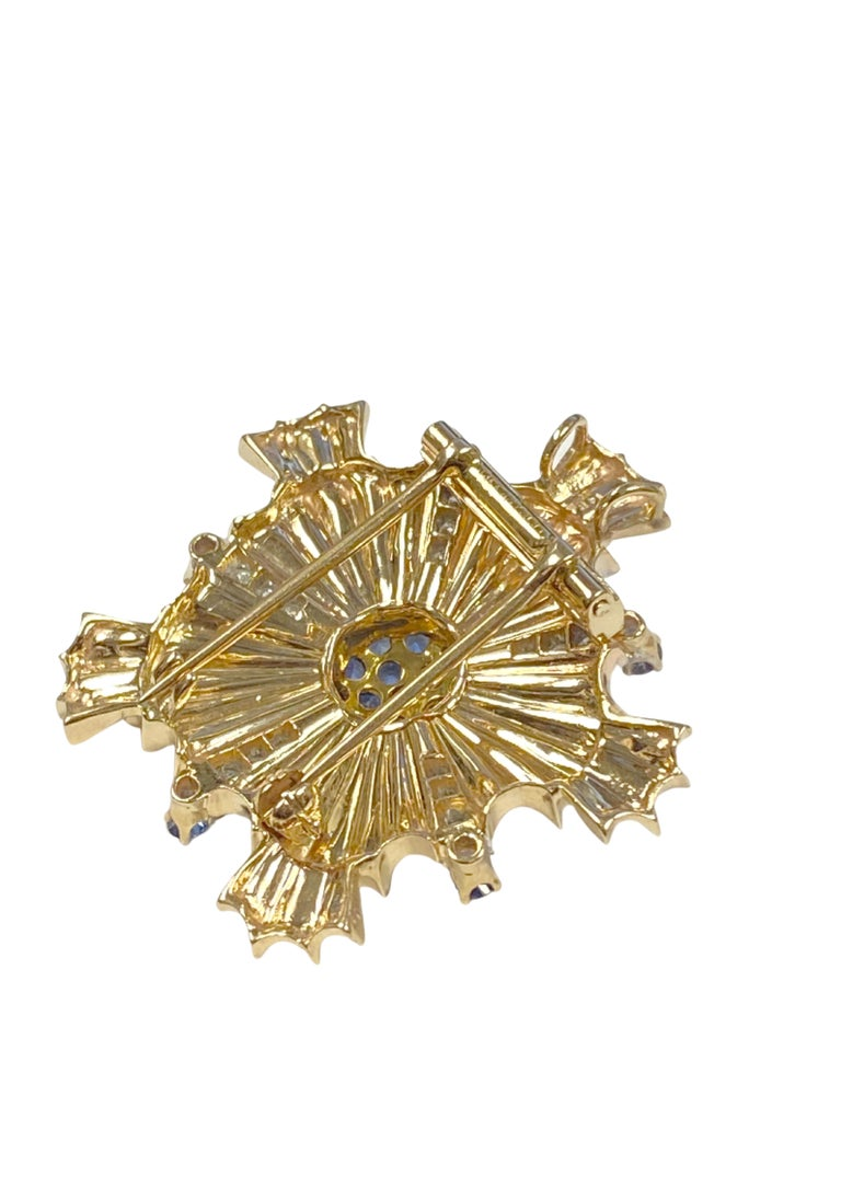 Women's or Men's Tiffany & Co. 1940s Retro Patriotic Gold and Gem Stone Clip Brooches For Sale