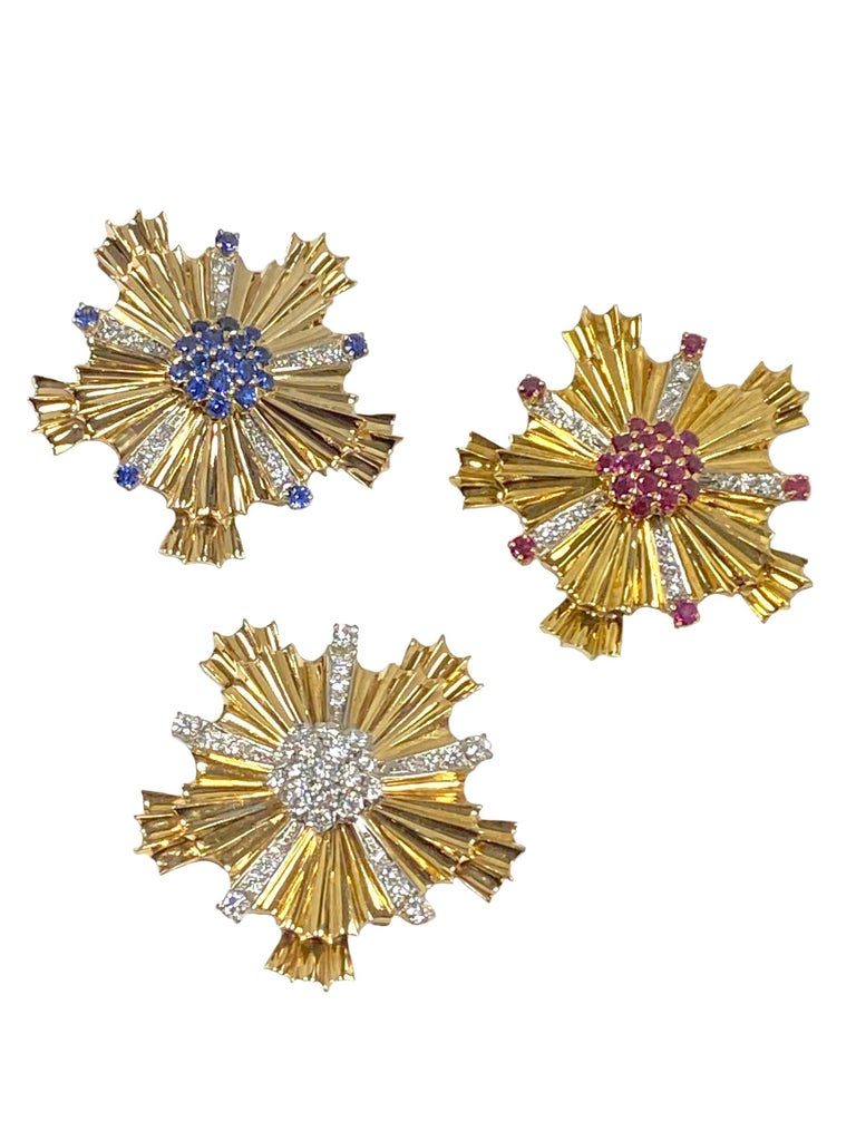 Tiffany & Co. 1940s Retro Patriotic Gold and Gem Stone Clip Brooches For Sale 2